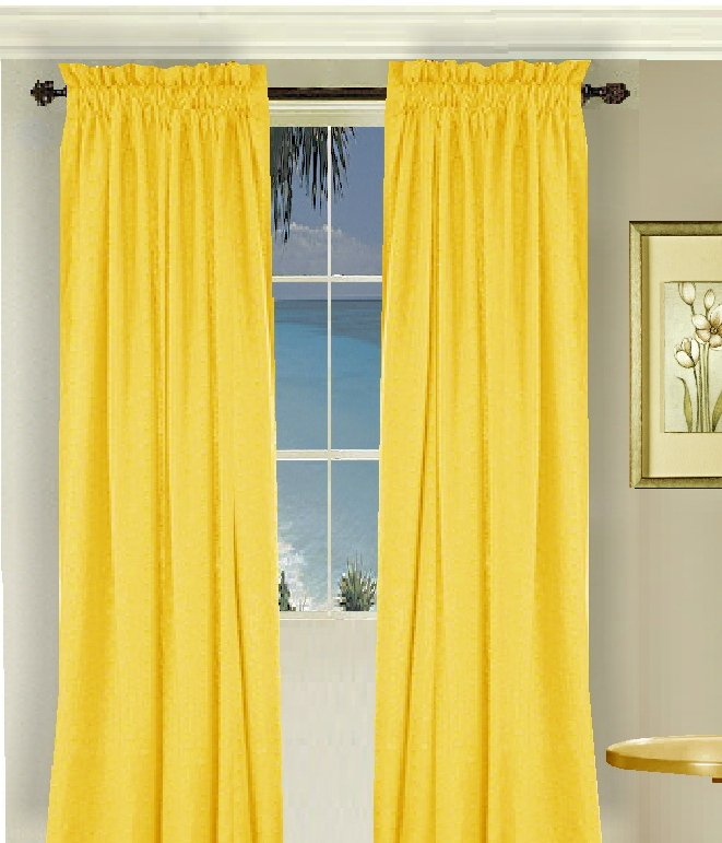 Solid Golden Yellow Colored Window Long Curtain Available