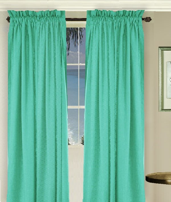 Solid Jade Green Colored Long Window Curtain Available In