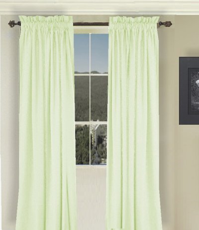 Solid Light Green Colored Window Long Curtain Available