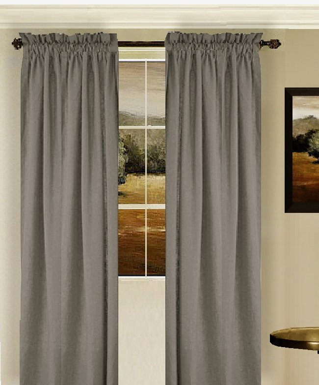 Solid Medium Gray Colored Window Long Curtain (available In Many Lengths And 3 Rod Pocket Sizes