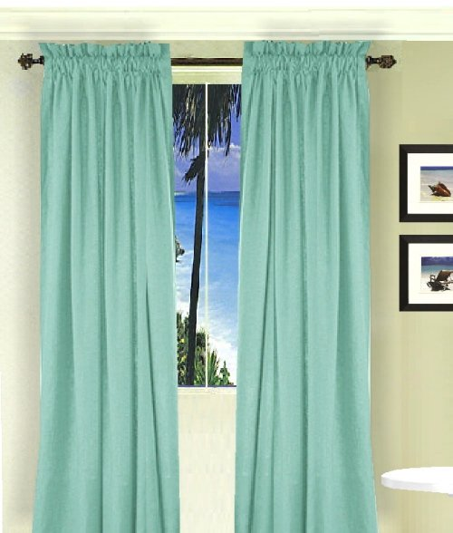 Solid Mint Green Colored Window Long Curtain Available In Many Lengths And 3 Rod Pocket Sizes
