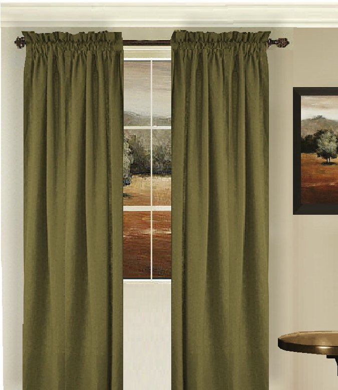 Solid Olive Green Colored French Door Curtain Available