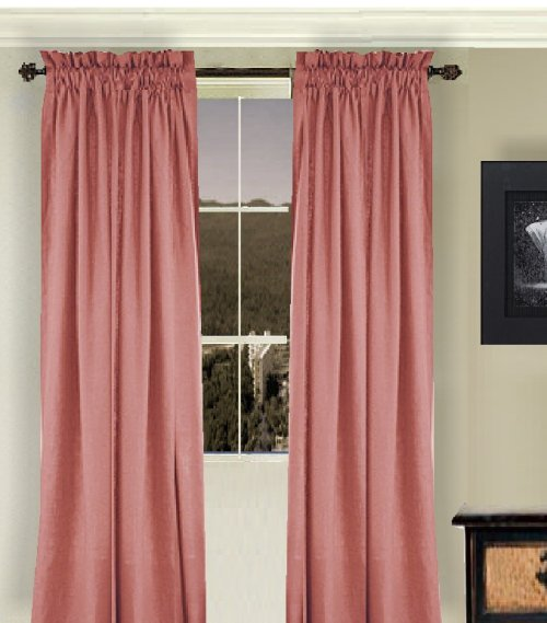 Solid Rose Colored Window Long Curtain Available In Many