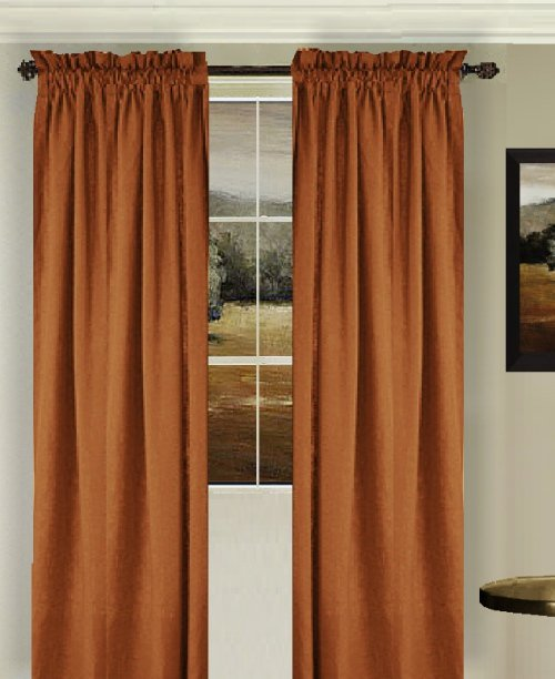 Solid Rust Colored Window Long Curtain Available In Many