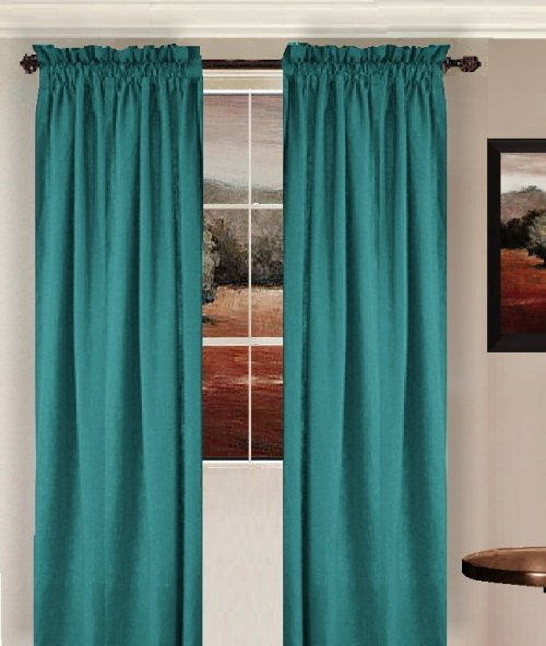 Solid Teal Colored Window Long Curtain Available In Many Lengths And 3 Rod Pocket Sizes