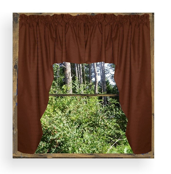 Solid Copper Brown Colored Swag Window Valance Optional