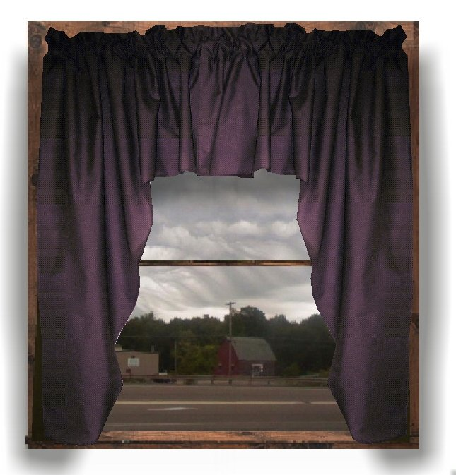 Solid Eggplant Purple Colored Swag Window Valance