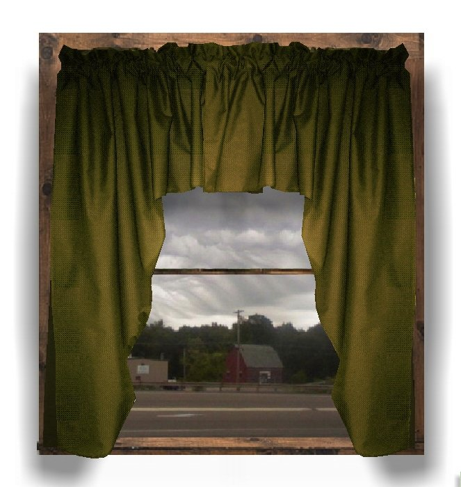 Solid Olive Green Colored Swag Window Valance Optional Center Piece Available