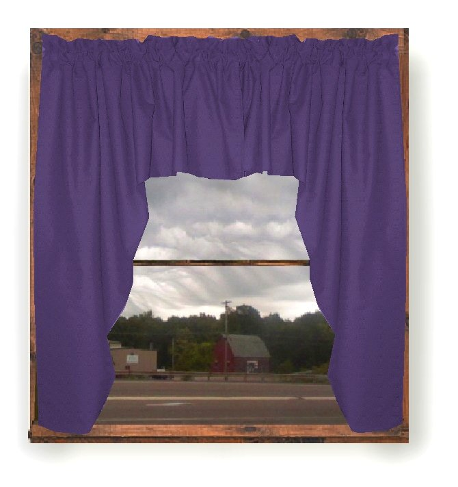 Solid Purple Colored Swag Window Valance Optional Center