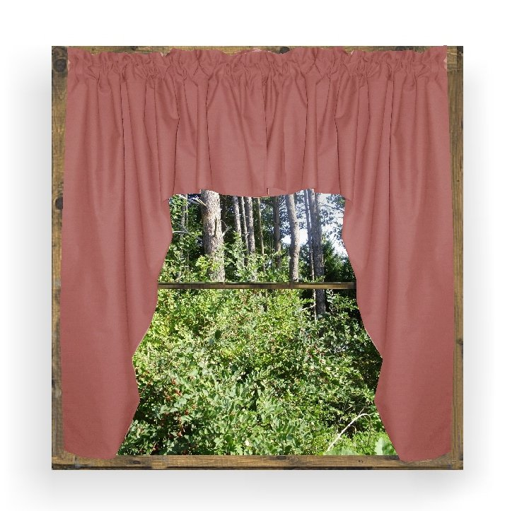 Solid Rose Colored Swag Window Valance Optional Center