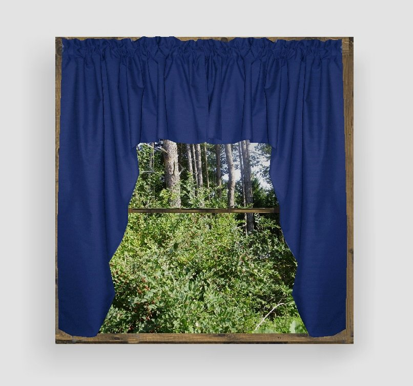 Solid Royal Blue Colored Swag Window Valance Optional