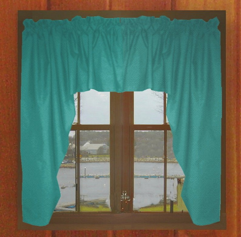 Solid Teal Colored Swag Window Valance Optional Center