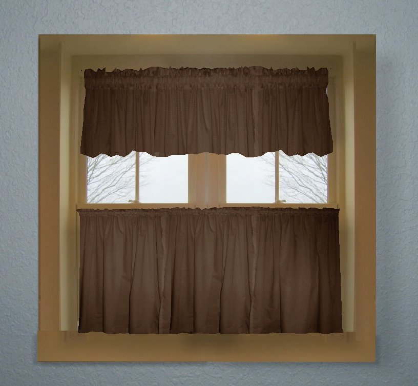 Brown Color Tier Kitchen Curtain Two Panel Set