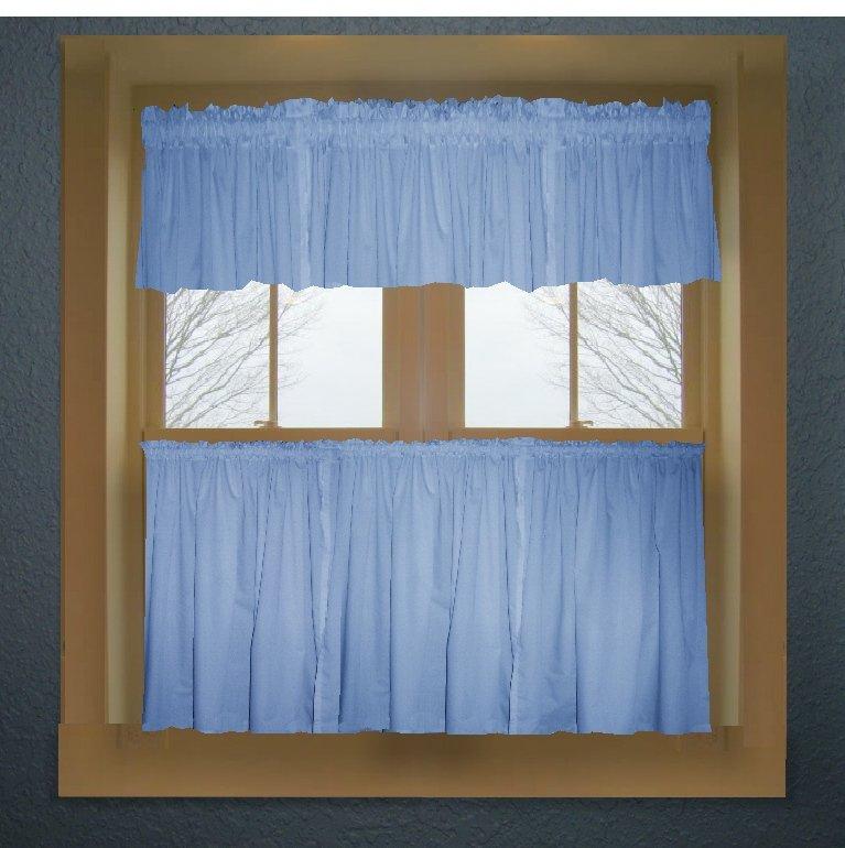 Caribbean Blue Color Tier Kitchen Curtain Two Panel Set