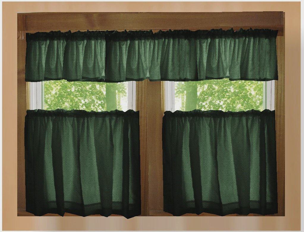 Dark forest green color tier kitchen curtain two panel set for Valance curtains for kitchen