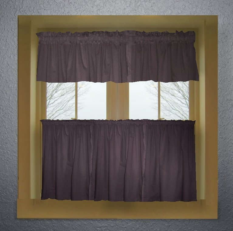 Solid Eggplant Purple Colored Caf 233 Style Curtain Includes