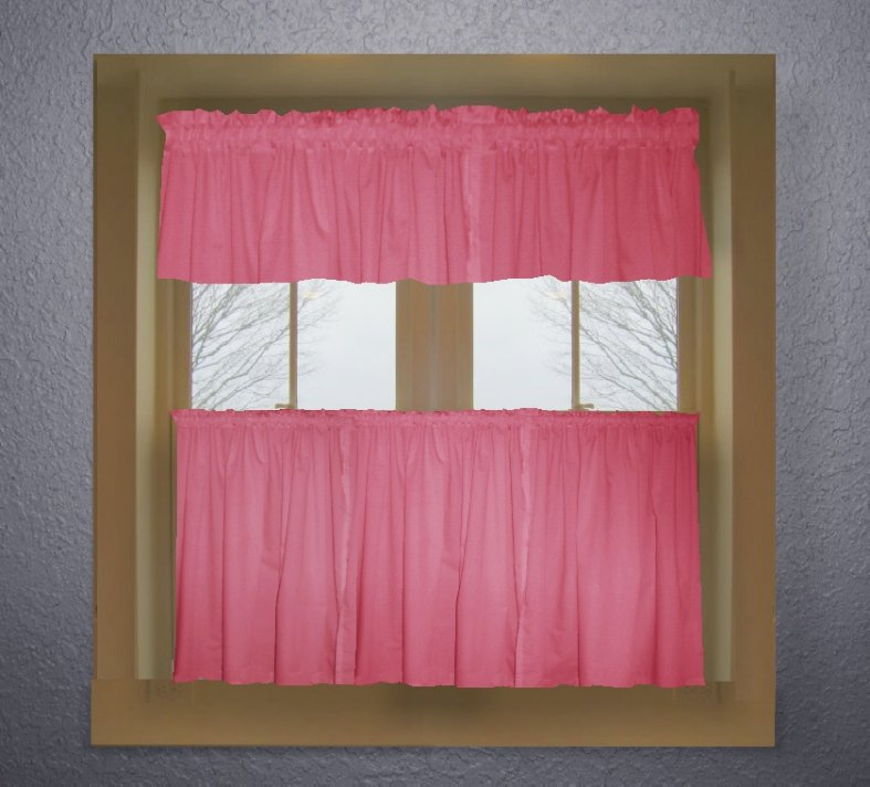 Hot Pink Fuchsia Color Tier Kitchen Curtain Two Panel Set