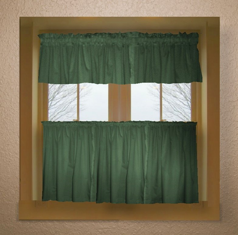 Hunter Green Color Tier Kitchen Curtain Two Panel Set