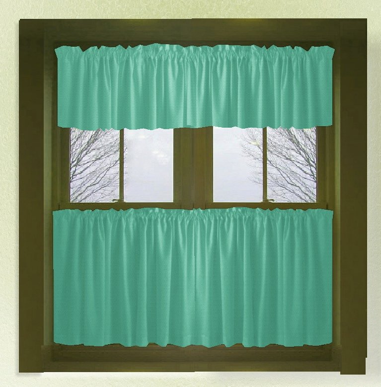 Jade Green Color Tier Kitchen Curtain Two Panel Set