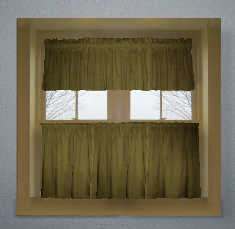 Olive Green Color Tier Kitchen Curtain Two Panel Set