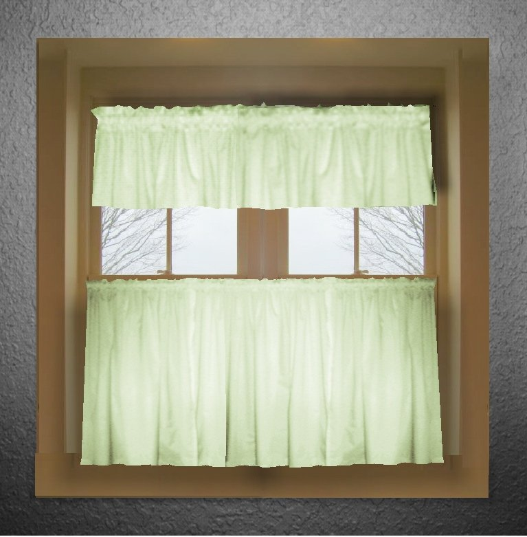 Valance Lighting Kitchen: Light Green Color Tier Kitchen Curtain Two Panel Set