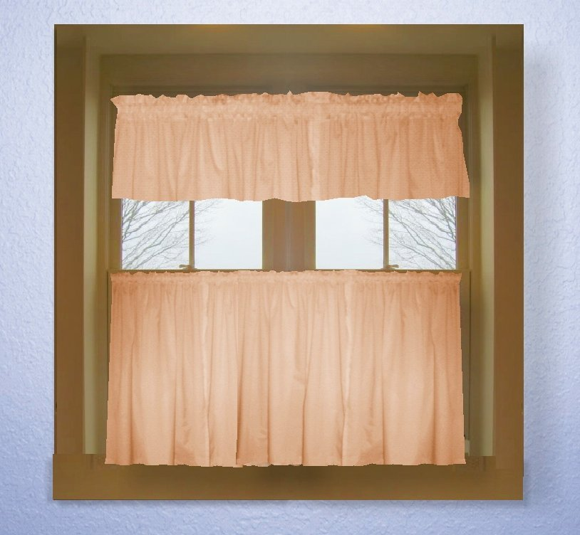 Solid peach colored caf style curtain includes 2 for Valance curtains for kitchen