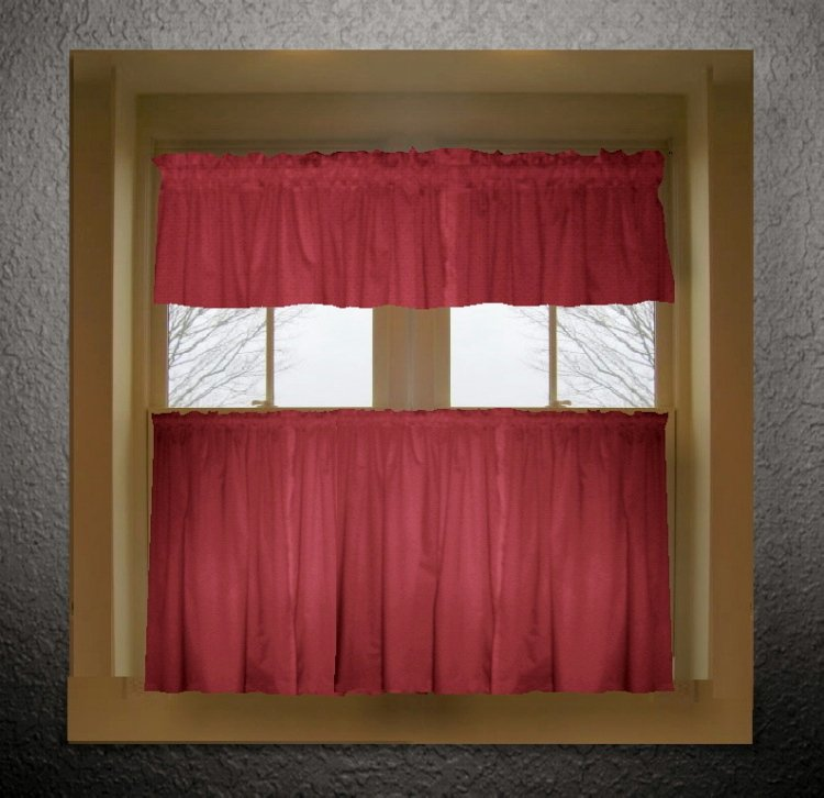Red Kitchen Valances: Red Color Tier Kitchen Curtain Two Panel Set