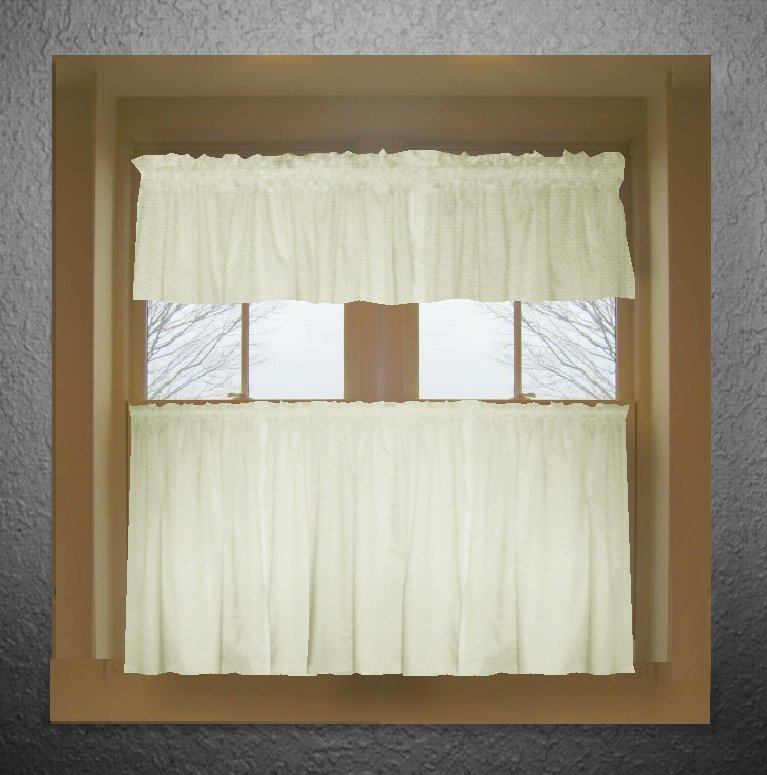 Solid Soft White Colored Café Style Curtain Includes 2 Valances And Kitchen Panels In Many Custom Lengths