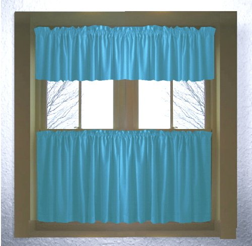 Turquoise Color Tier Kitchen Curtain Two Panel Set