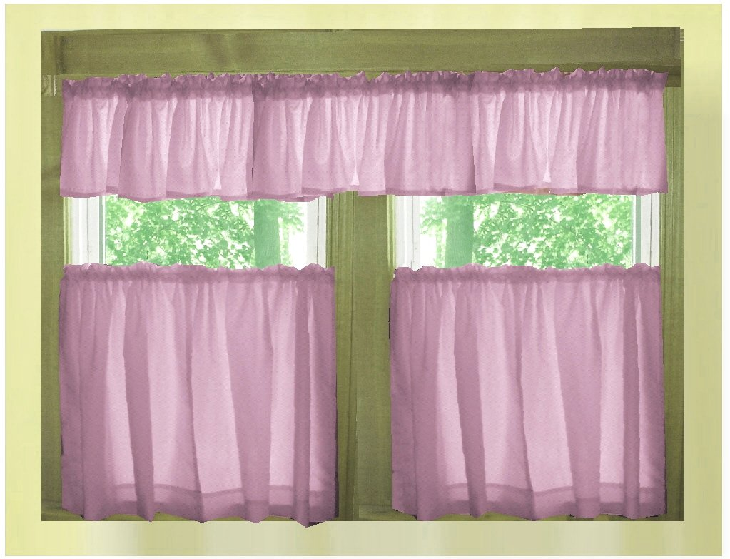 Solid violet purple caf style tier curtain includes 2 for Valance curtains for kitchen