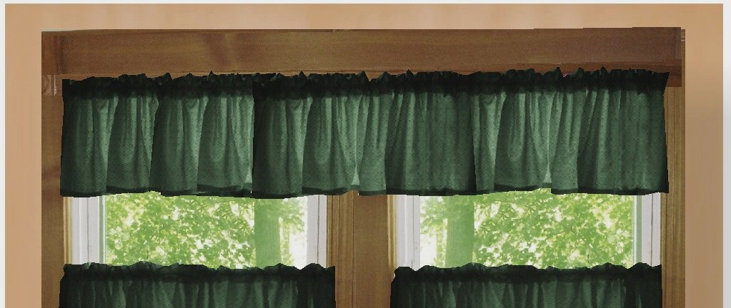 Solid Dark Forest Green Color Valance In Many Lengths