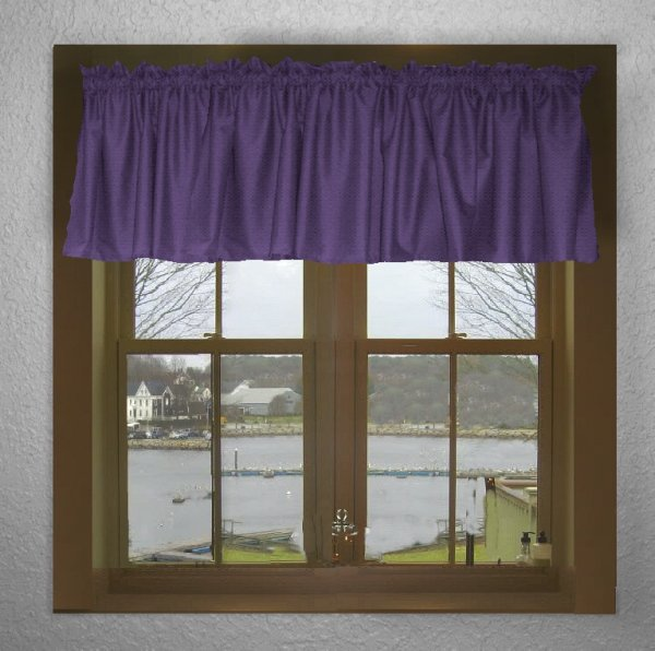 Kitchen Curtains Purple: Solid Purple Color Valance In Many Lengths