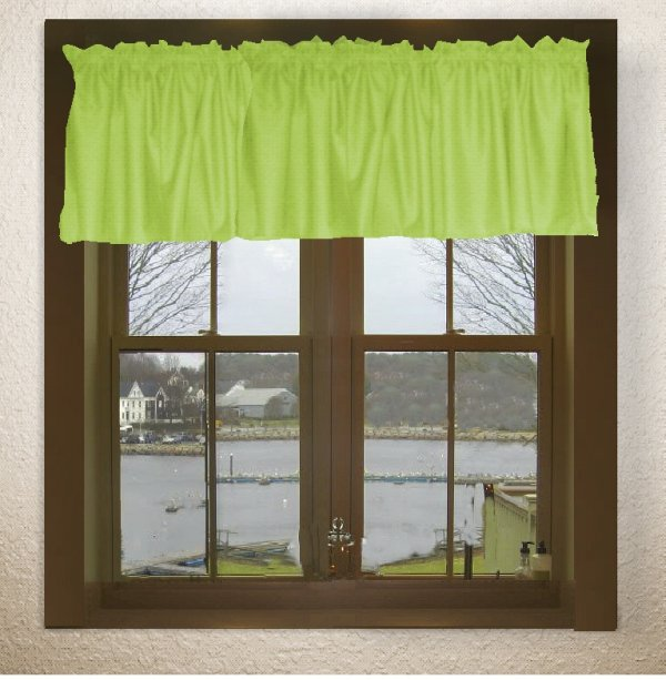 Solid Lime Green Color Valance In Many Lengths