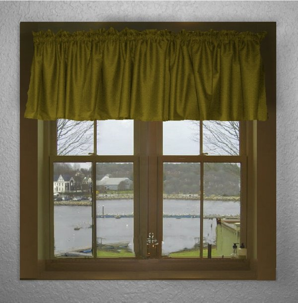 Solid Olive Green Color Valance In Many Lengths Custom Size