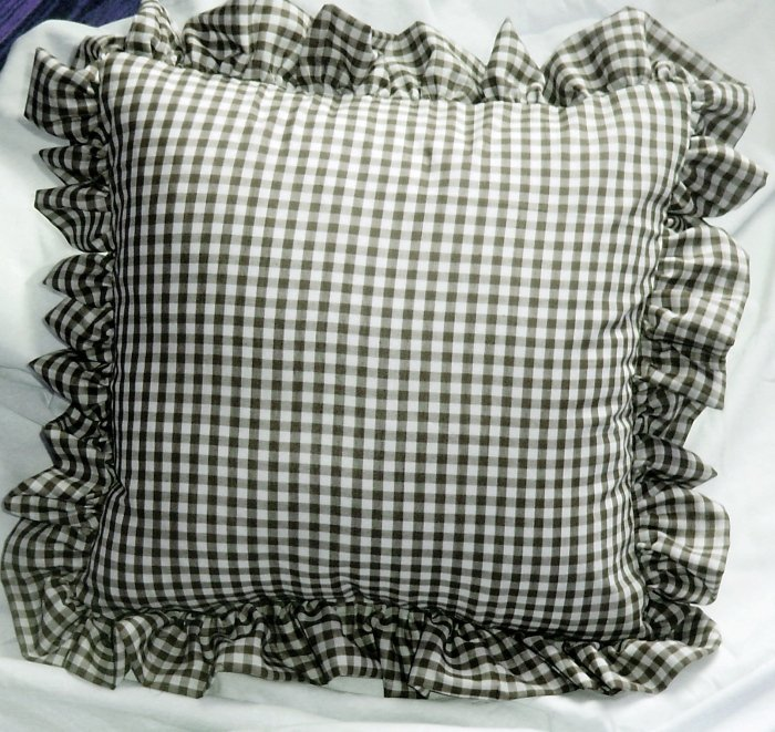 Black Gingham Check Accent Pillow With Removable Ruffled