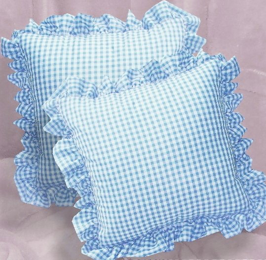 Blue Gingham Check Accent Pillow With Removable Ruffled