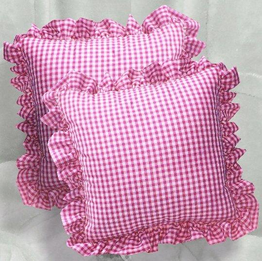 hot pinkfuchsia gingham check accent pillow