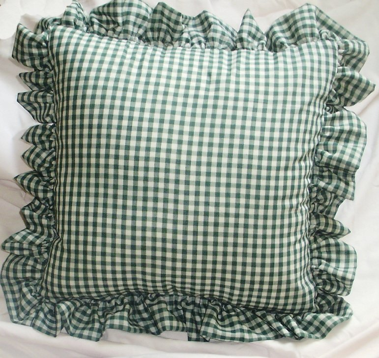 Hunter Green Gingham Check Accent Pillow With Removable