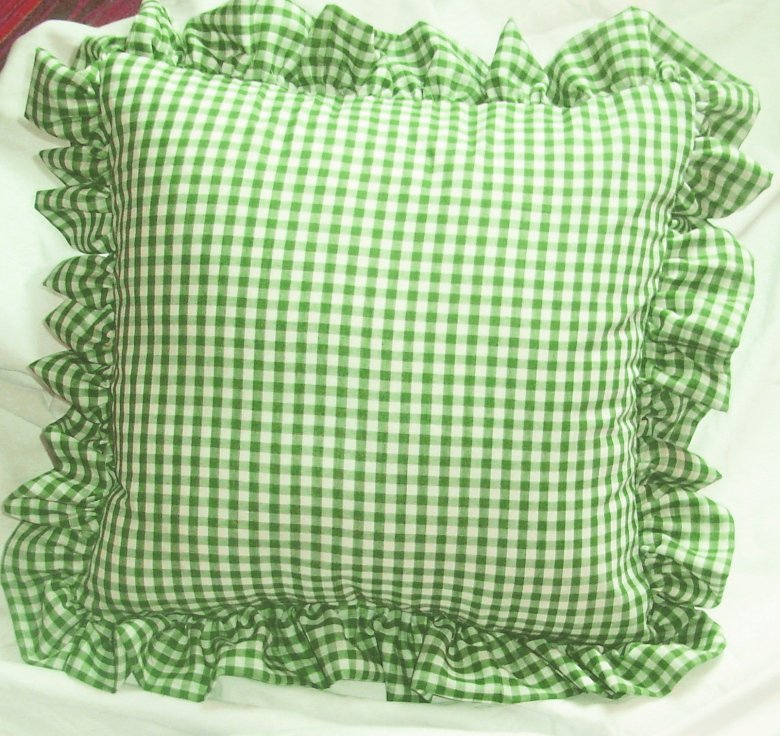 Lime Green Gingham Check Accent Pillow With Removable