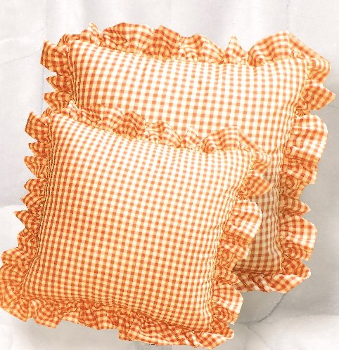 Orange Gingham Check Accent Pillow With Removable Ruffled