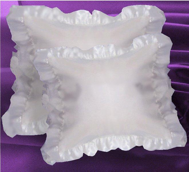 White Satin Ruffled Edge Throw Pillow Cover With Pillow