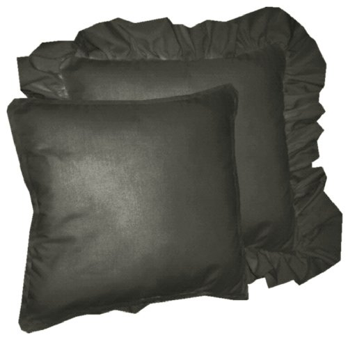 Solid Black Colored Accent Pillow With Removable Ruffled