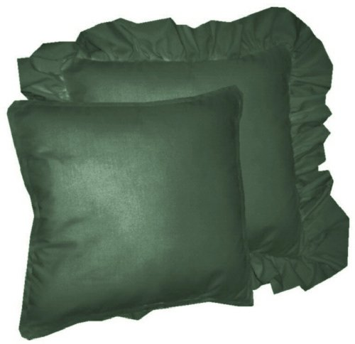 Hunter Green Throw Pillow : Solid Hunter Green Colored Accent Pillow with Removable Ruffled or Corded Edge (in 16x16 or 18x18)