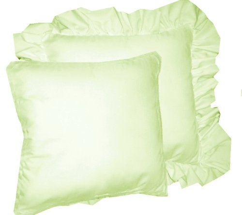 Light Green Decorative Pillow : Solid Light Green Colored Accent Pillow with Removable Ruffled or Corded Edge (in 16x16 or 18x18)