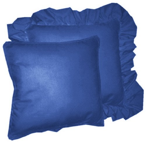 Blue Ruffle Throw Pillow : Solid Royal Blue Colored Accent Pillow with Removable Ruffled or Corded Edge (in 16x16 or 18x18)