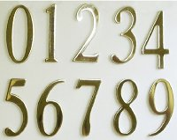 Polish Brass Mailbox or House Numbers (2inch) with Exterior Grade Adhesive