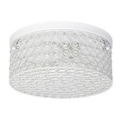 White Color Round Ceiling Flushmount Light (Elipse Crystal, White Finish, 12 Inch Diameter)
