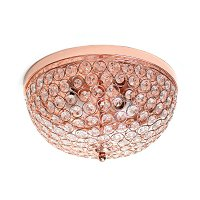 Elegant Designs 2 Light Elipse Crystal Flush Mount Ceiling Light, Rose Gold