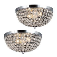 Elegant Designs 2 Light Elipse Crystal Flush Mount Ceiling Light 2 Pack Set, Chrome