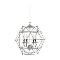 4 Light Hexagon Industrial Rustic Pendant Light, Brushed Nickel